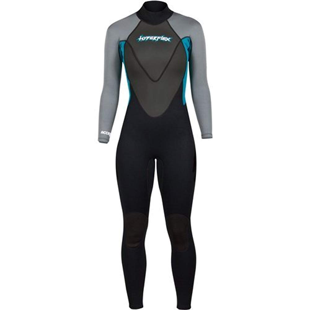 Hyperflex Women's and Men's 3mm Full Body Wetsuit - SURFING, Water Sports, Scuba Diving, Snorkeling - Comfort, Flexible and Anatomical Fit - and Adjustable Collar, Teal, 12 by Hyperflex