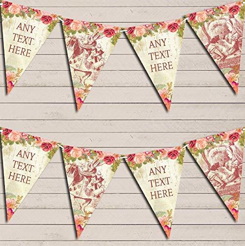 Alice in Wonderland Floral Shabby Chic Personalized Children's Birthday Bunting Garland Banner Decoration