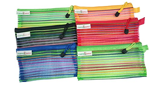 "PARTH IMPEX Mesh Pouch with Zipper (Pack of 6) Multipurpose Travel Storage Organizer Jewelry Candy Cosmetic Toiletry Stationary Pen Pencil Makeup Bag Assorted Colors (Approx L 4.8"" X W 9"")"