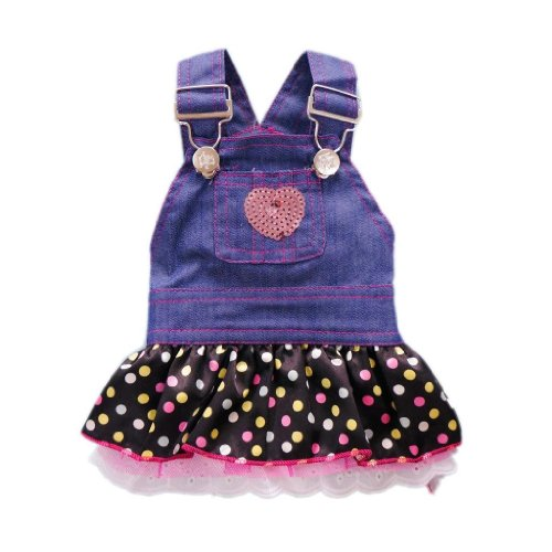 Petparty Sweet Heart Sequins Denim Dog Dress Dog Clothes, XS