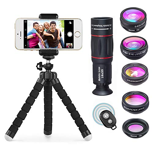 (APEXEL Phone Camera Lens with 18x Telephoto Lens+Fisheye,Macro/Wide Angle Lens+Star,Kaleidoscope Filter+Tripod and Shutter 8 in 1 Cell Phone Lens Kit Fit For iPhone and other Smartphone)
