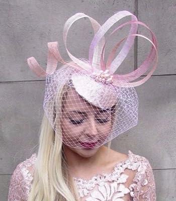 5357b01266862 Blush Shell Light Pink Birdcage Veil Fascinator Hat Hair Clip Pillbox Races  4678  Amazon.co.uk  Beauty