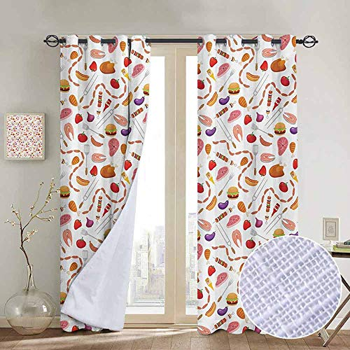 NUOMANAN Decor Curtains by BBQ Party,Grilling Themed Food Elements Hamburger Hotdog Steak and Sausage Pattern Cooking,Multicolor,Wide Blackout Curtains, Keep Warm Draperies,1 Pair 100