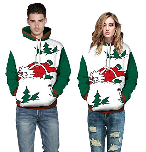 Moko-PP Women Men Unisex Couples 3D Christmas Santa Hoodies Blouse Tops Shirt