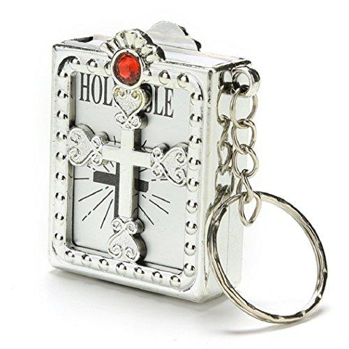 Ameesi Fashion Mini Holy Bible Miniature Paper Spiritual Christian Jesus Keychain Keyring - Silver