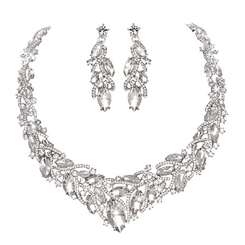 Youfir Women's Elegant Austrian Crystal Necklace and Earrings Jewelry Set for Wedding Dress (Clear) - Holiday Gown Sets