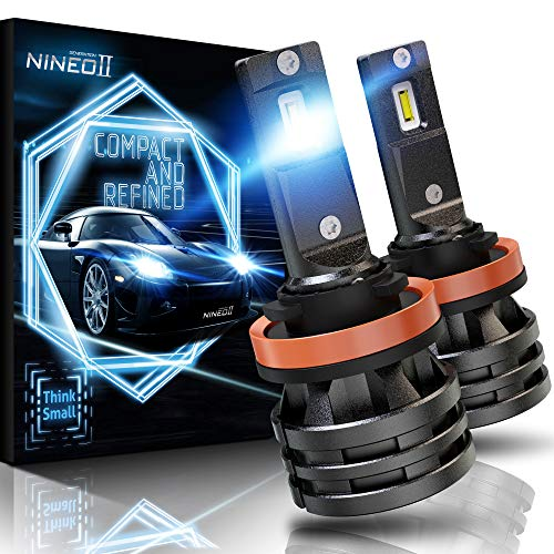 NINEO H11 LED Headlight Bulbs w/Small Size,10000LM 6500K Cool White CREE Chips H8 H9 All-in-One Conversion Kit