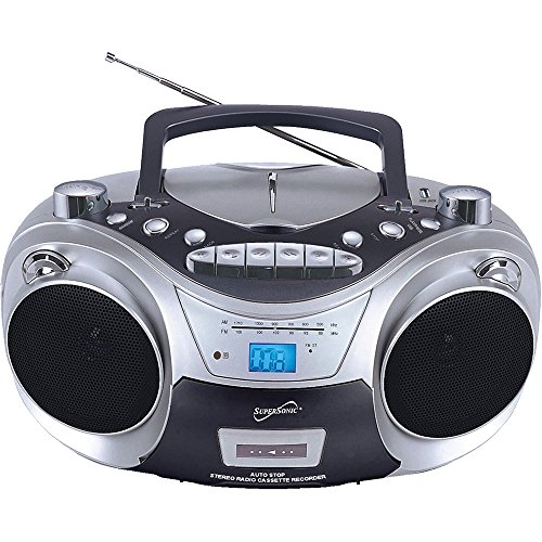 Supersonic SC709CD CD Boombox with MP3 and Cassete - Karaoke Boombox Cd Player