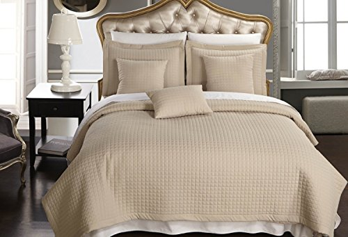 Full / Queen size Linen / Beige Coverlet 3pc set, Luxury Microfiber Checkered Quilt by Royal Hotel