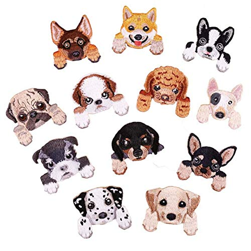 SOUTHYU 12 Pack Dog Puppy Iron On Patches Embroidered Decorative Motif Appliques DIY Repairing Badge for Clothing Jeans Jacket Bag Backpack Hat T-Shirt Shoes