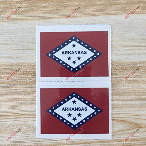 3S MOTORLINE 2X Glossy 3'' Arkansas State Flag AR USA Decal Sticker American State Car Vinyl