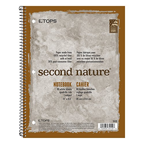 TOPS 74112 Second Nature Subject Wirebound Notebook, 11 x 8 1/2, White, 80 Sheets
