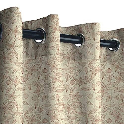 Outdoor Fade Resistant Curtain, Beige Vintage Flower Pattern Abstract Lined Foliage Arrangement Leaves Retro Art Nouveau Personalized 3D Custom Curtains ( Beige Redwood, 96 x 108 Inches )