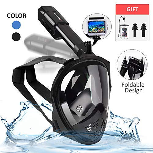 SPORUS Snorkel Mask Full Face, Diving Mask Anti-Fog 180°Panoramic View with Foldable Tube for Adults and Kids