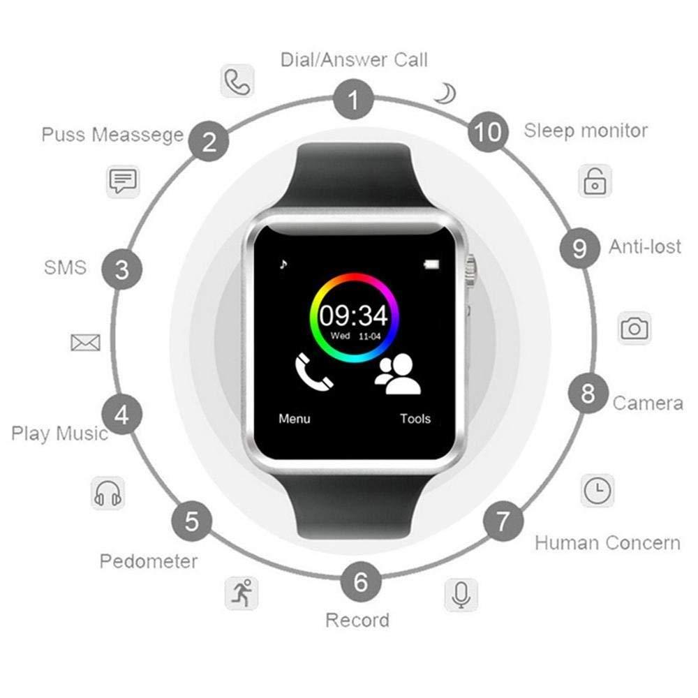 Jpantech Smartwatch Reloj Inteligente Smart Watch con Cámara Soporte de Pantalla Táctil Tarjeta SIM Compatible con Samsung Sony HTC Huawei Xiaomi