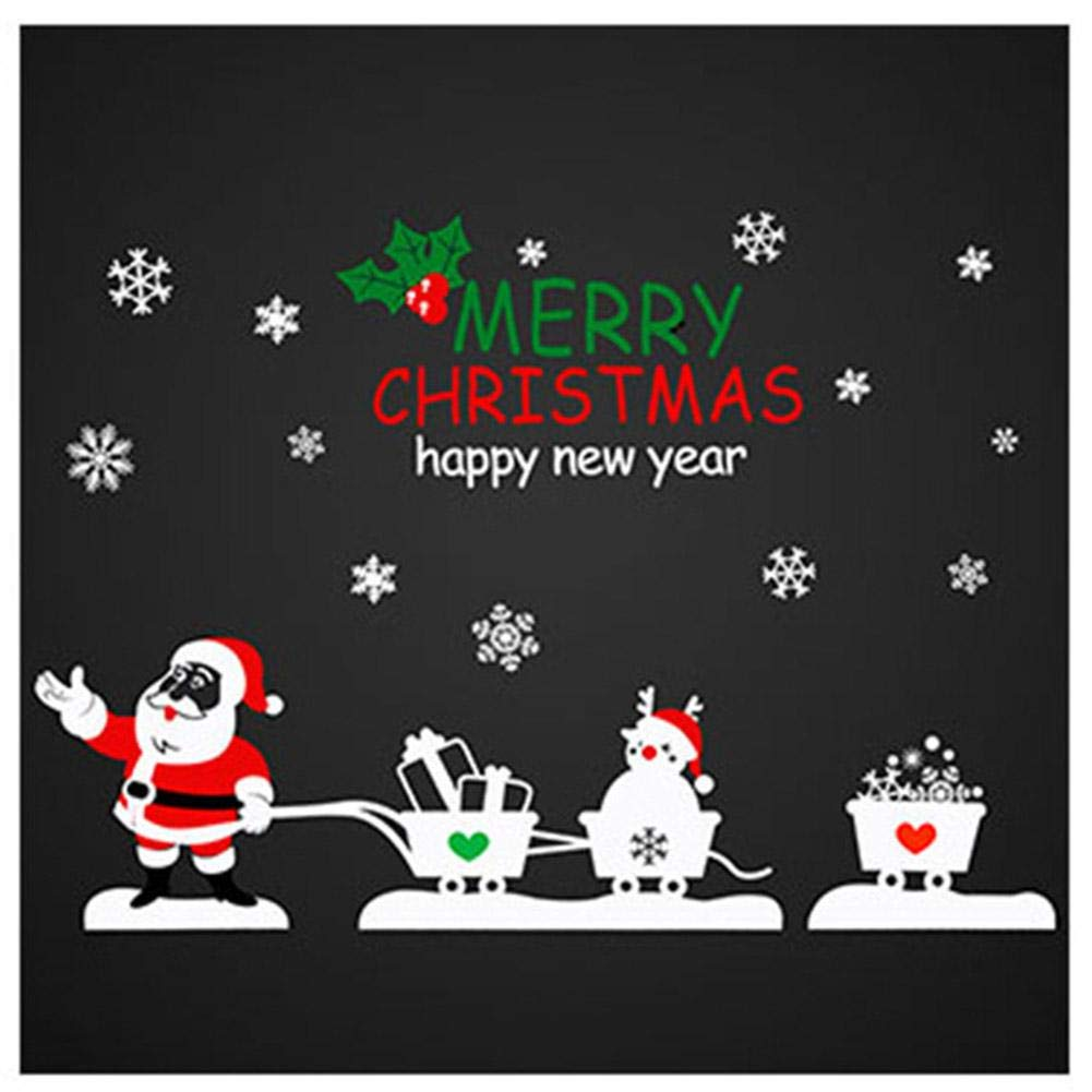 Adesivi per vetrine 3 Pack, Babbo Natale Tirando Carrello Adesivi in vetro Adesivi per vetri Adesivi per vetri PEALO
