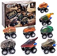 Lekebaby Dinosaur Cars Pull Back Vehicles 8 Pack Dino Toy Great Gifts for Kids Toddlers Age 2-8
