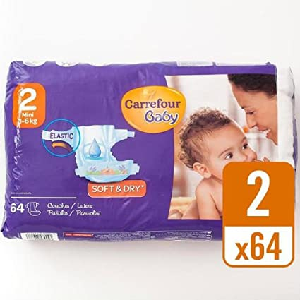 Carrefour bebé suave y seco Tamaño 2 Pañales esenciales Pack 64 por paquete caso de 4