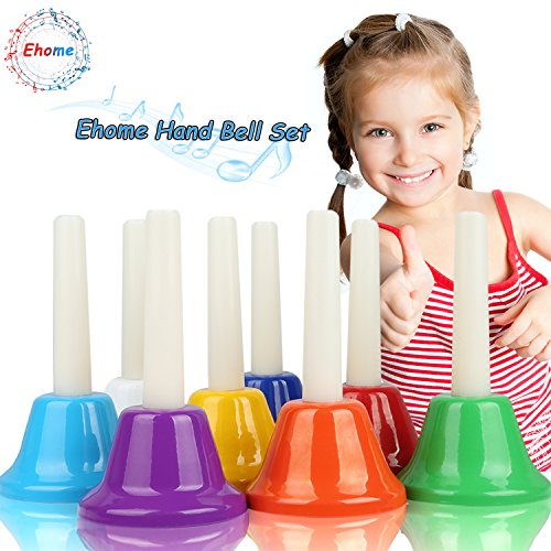 Ehome Hand Bells Set, 8 Note Diatonic Metal Bells, Musial Bells for Kids, Children and Toddlers, Musical Learning at an Early Age, Musical Toy Percussion Instrument, Musical Gifts for Kids.