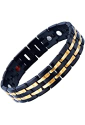 Exquisite Stainless Steel Mens Magnetic Bracelet Gold Black with Magnets and Free Link Removal Tool
