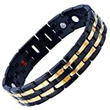 Best Jewelry Everyday Gifts For Boyfriends - Exquisite Stainless Steel Mens Magnetic Bracelet Gold Black Review