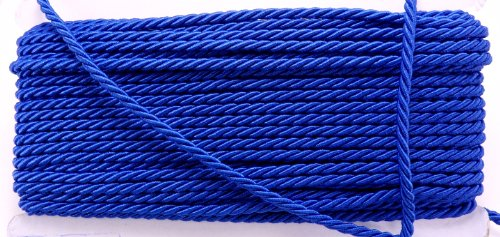 Royal Blue Shiny Twist Cord Choker Thread Twine Beading Bracelet String Rope Supplies Braid 3 Yards