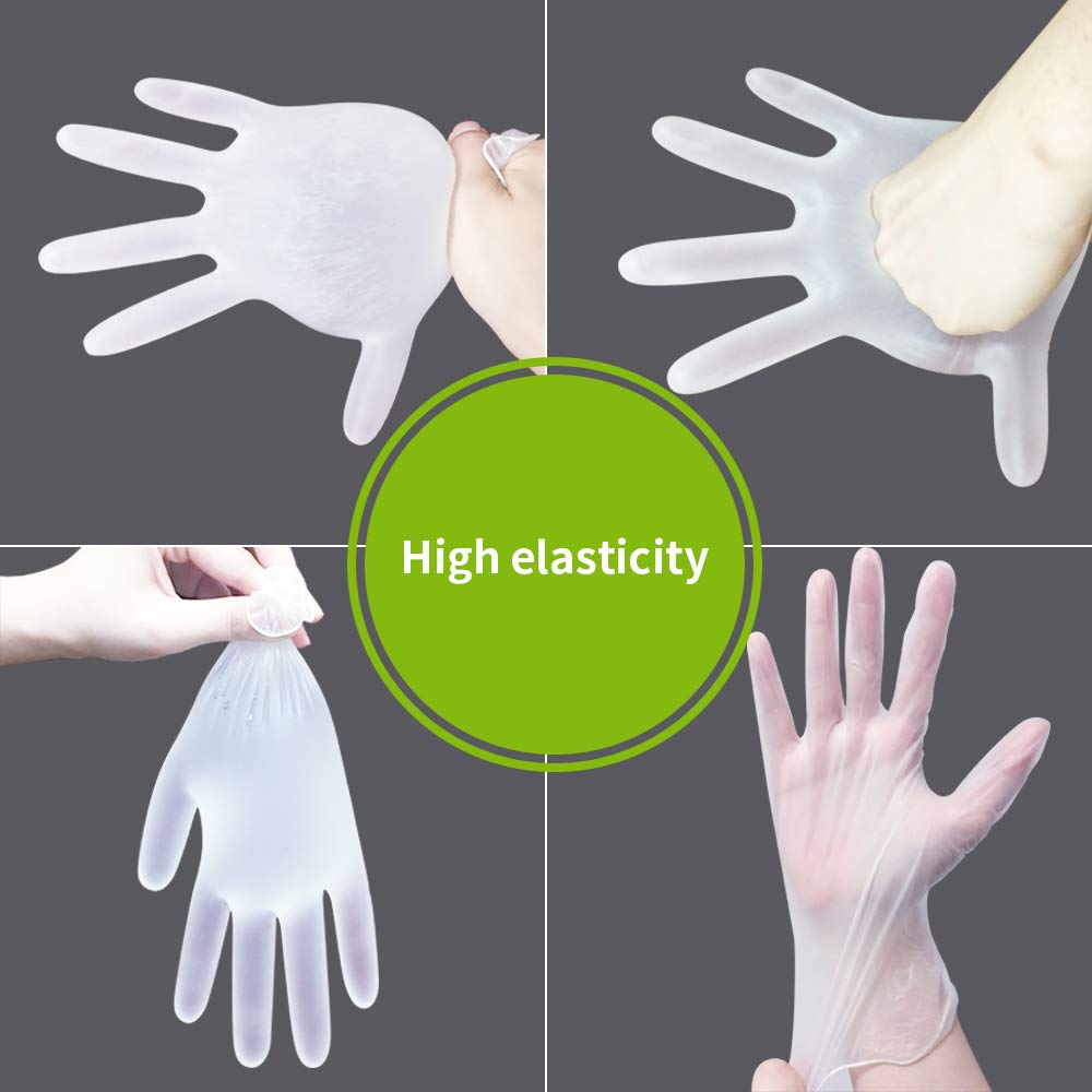 50 Pcs Mittens Transparent Glover,Mitten Clear PVC Mitts for Cooking Cleaning