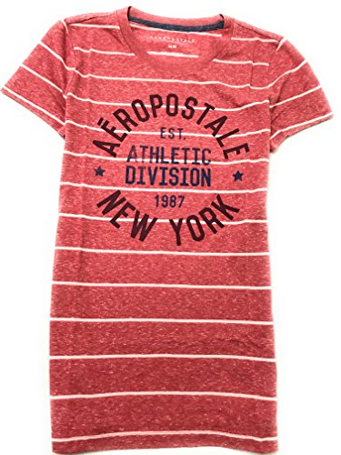 Aeropostale Women's Graphic Striped Tee New York Athletic Division Logo Style 3590 (XX-Large, Light Red (New York Style Graphic Tee)