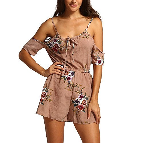 - Dresses for Women Party Night sexySummer Off The Shoulder Playsuit for Holiday Ladies Jumpsuit(Khaki,XL)