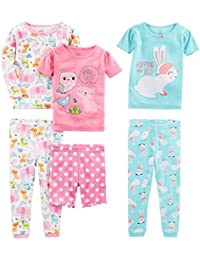 Girls' 6-Piece Snug-Fit Cotton Pajamas