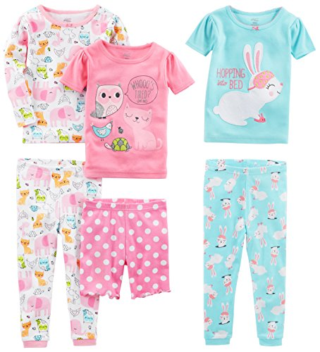 Simple Joys by Carter's Baby Girls' 6-Piece Snug Fit Cotton Pajamas, Bunny/Animals Green, 6-9 Months