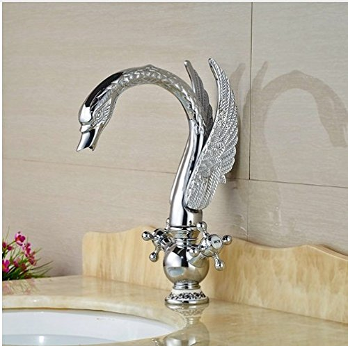 Gowe Newly Contemporary Chorme Polish Basin Faucet Bathroom Sink Tap Double Handles Mixer Faucet 0