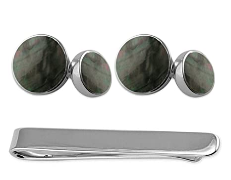 0fabec39fff9 Amazon.com: Sterling Silver Cufflinks with Black Mother of Pearl Tie ...