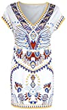 Womens Bohemian V Neck Vintage Printed Ethnic Style Summer Shift Dress