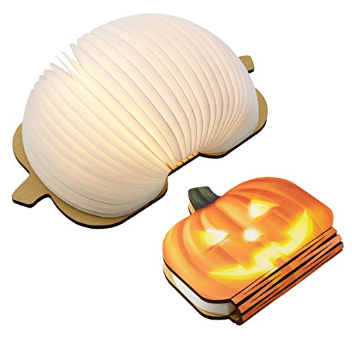 BMQ Folding LED Book Light, USB Rechargable Book Shaped, Desk Table Lamp for Decor,Indoor Figurine Lamps, Creative Gift for Kids(Pumpkin) by XINQUANTU