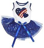 Petitebella USA Twin Heart White Shirt Royal Blue Sequins Tutu Puppy Dog Dress (XX-Large) For Sale