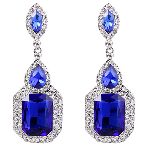 BriLove Women's Wedding Bridal Dangle Earrings Emerald Cut Crystal Infinity Figure 8 Chandelier Earrings Royal Blue Sapphire Color Silver-Tone