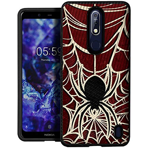 CasesOnDeck Case for [Nokia 3.1 Plus (Cricket)] - Dual Layer Slim Defender Bump and Drop Protection (Spider Web) ()