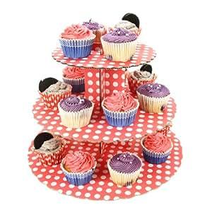 Culpitt - Mostrador de cupcakes (3 estantes), diseño de lunares, color rojo y blanco