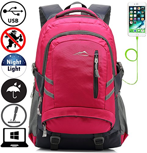 Backpack Bookbag For School College Student Travel Business With USB Charging Port Water Resistant Fit Laptop Up to 15.6 Inch Anti theft Night Light Reflective (Pink)