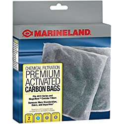 MarineLand Premium Activated Carbon Bags, For Chemical Filtration In Aquariums, 2-Count