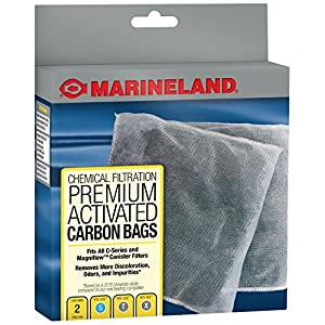 MarineLand Premium Activated Carbon Bags, for Chemical Filtration in Aquariums, 2-Count 64