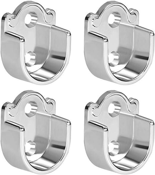 sourcing map 6pcs Zinc Alloy Wardrobe Closet Rod Bracket Shower Curtain Rod Pole End Supports Sockets Flange Holder Fit Rod Dia 19mm