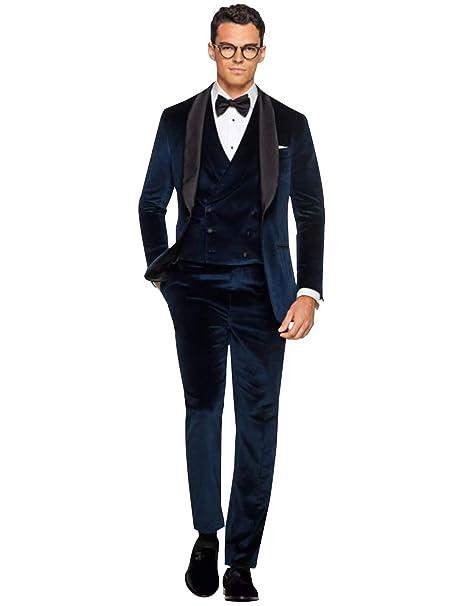 YZHEN Mens Suit Velvet Shawl Lapel One Button Jacket Pants