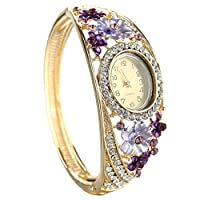 Anmao Alloy Crystal with Epoxy Bracelet Watch 24k Gold Filled