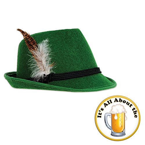 Oktoberfest Deluxe Green German Alpine Hat All About The Beer Button 2 Piece Bundle Set ()