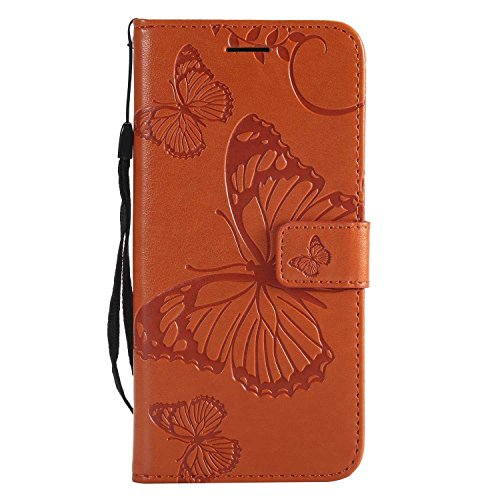 CUSKING Case for Huawei P20, Leather Flip Cover Magnetic Wallet Case with Butterfly Embossed Design, Case with Card Holders and Kickstand - Orange