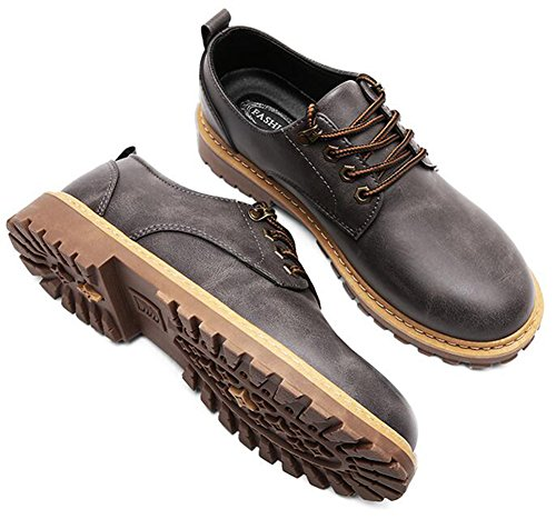 IDIFU Mens Fashion Round Toe Low Top Lace Up Oxfords Office Shoes Gray tH1Ubvr
