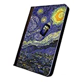 Tardis Doctor Who Vincent van Gogh, Second Edition, iPad Mini Leather Case, Cover, Black. For Apple iPad Mini Tablet. With Multi-Angle Stand Feature. Compatible with iPad mini 3, iPad Mini 2, iPad Mini.