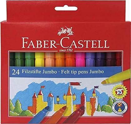 Faber Castell 554324 - Estuche de cartón con 24 rotuladores escolares Jumbo, multicolor